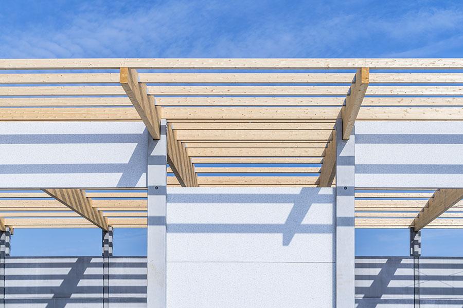 Funghi Valentina, 2017, Bologna, tetto in legno con travi a soppia pendenza da 25 m | BI Engineering