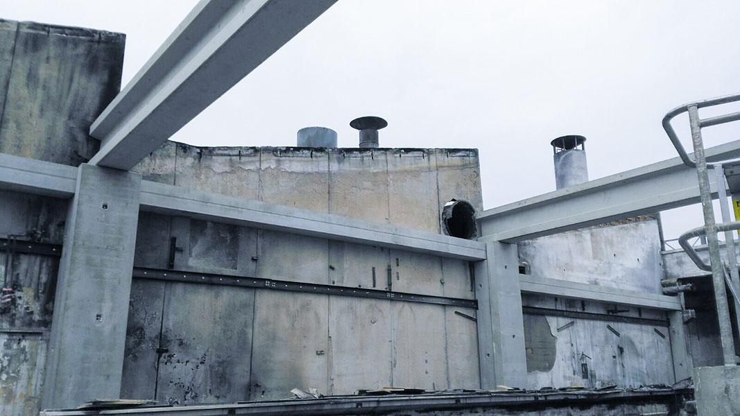 Magri, Bologna, 2017, sostituzione degli elementi prefabbricati danneggiati dal fuoco | BI Engineering