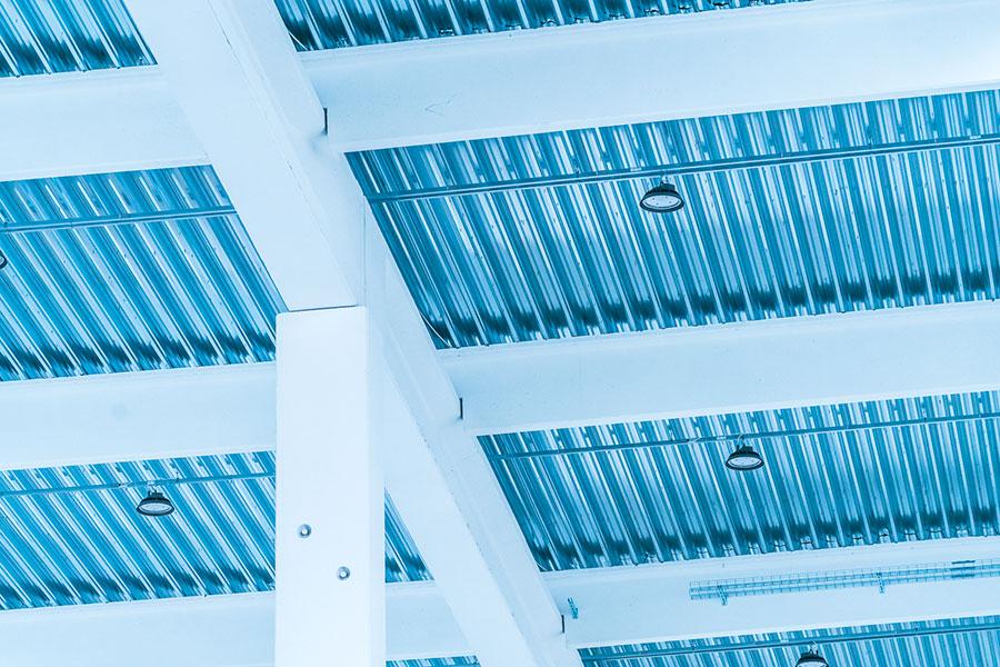 Yoox, Bologna, 2017, tipologia della copertura con travi, arcarecci, lamiera grandi luci| BI Engineering